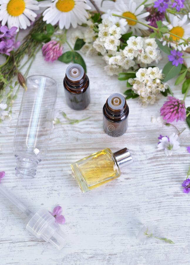 Essential oil and freshness  flowers in bottle royalty free stock images