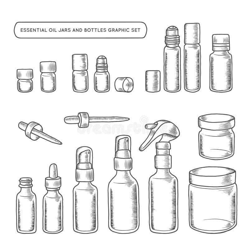 Essential oil jars and bottles hand drawn graphic set. Vector vintage illustration. stock illustration