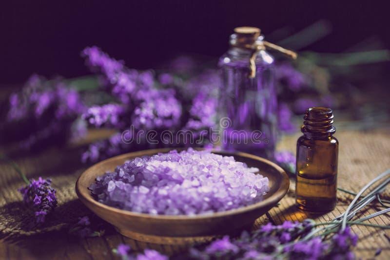 Essential oil and lavender bath salt royalty free stock photos