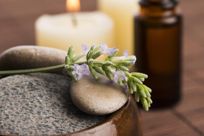 Essential oil and lavender flowers royalty free stock image