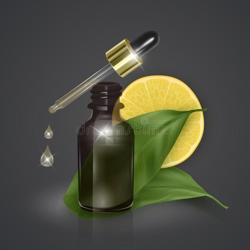 Essential oil with lemon, Vitamin C, realistic 3d illustration. Hydration serum with lemon extract. Perfect for advertising, flyer. Banner, poster vector illustration