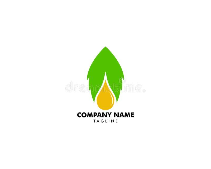 Essential oil logo design, Natural oil with fresh herbs vector design vector illustration
