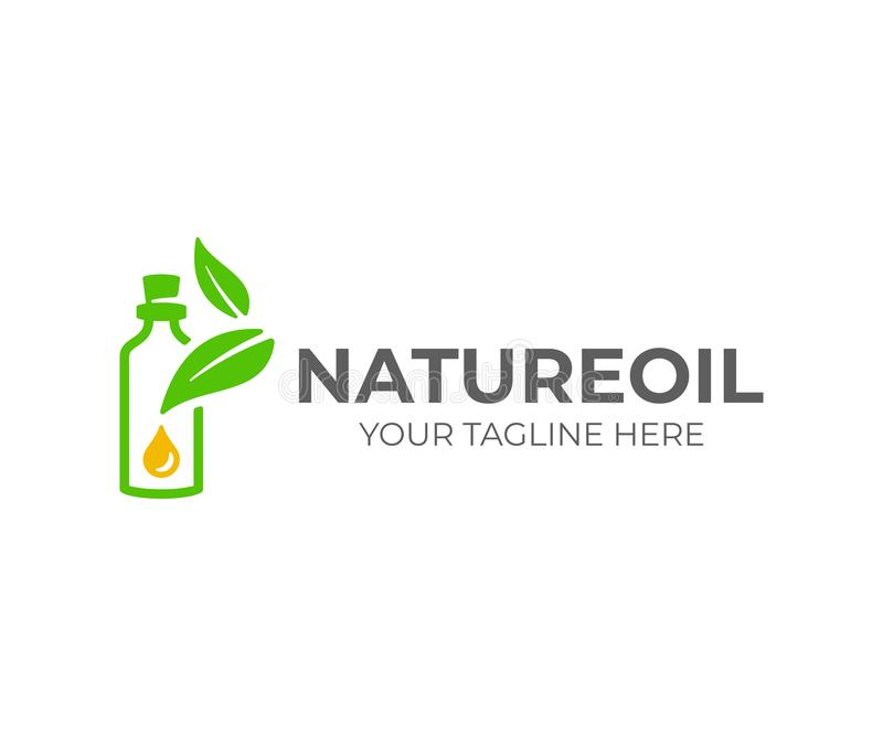 Essential oil logo design. Natural oil with fresh herbs vector design royalty free illustration