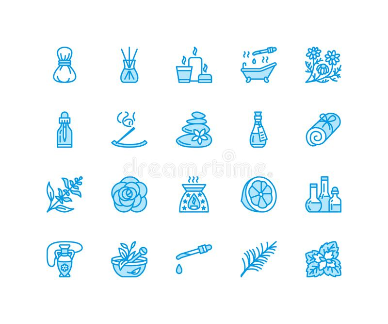 Essential oils aromatherapy vector flat line icons set. Elements - aroma therapy diffuser, oil burner, candles, incense. Sticks. Linear pictogram editable vector illustration