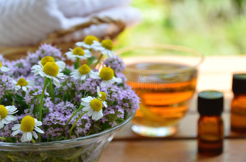 Essential oils at beauty salon stock images