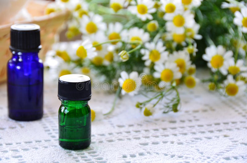 Essential oils with chamomile stock photo