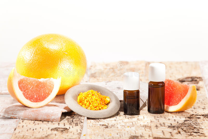 Essential oils from fruits stock photography