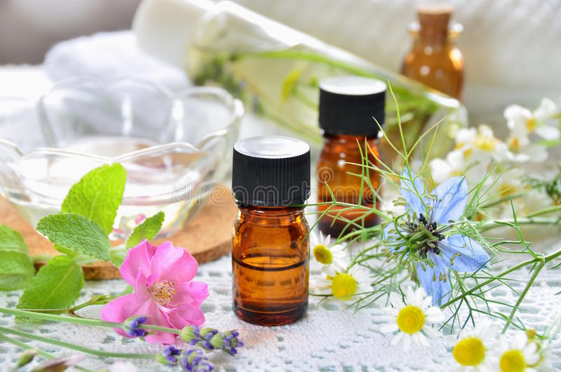 Essential oils and herbal cosmetics royalty free stock images