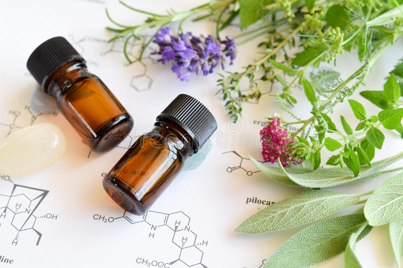 Essential oils and science royalty free stock image