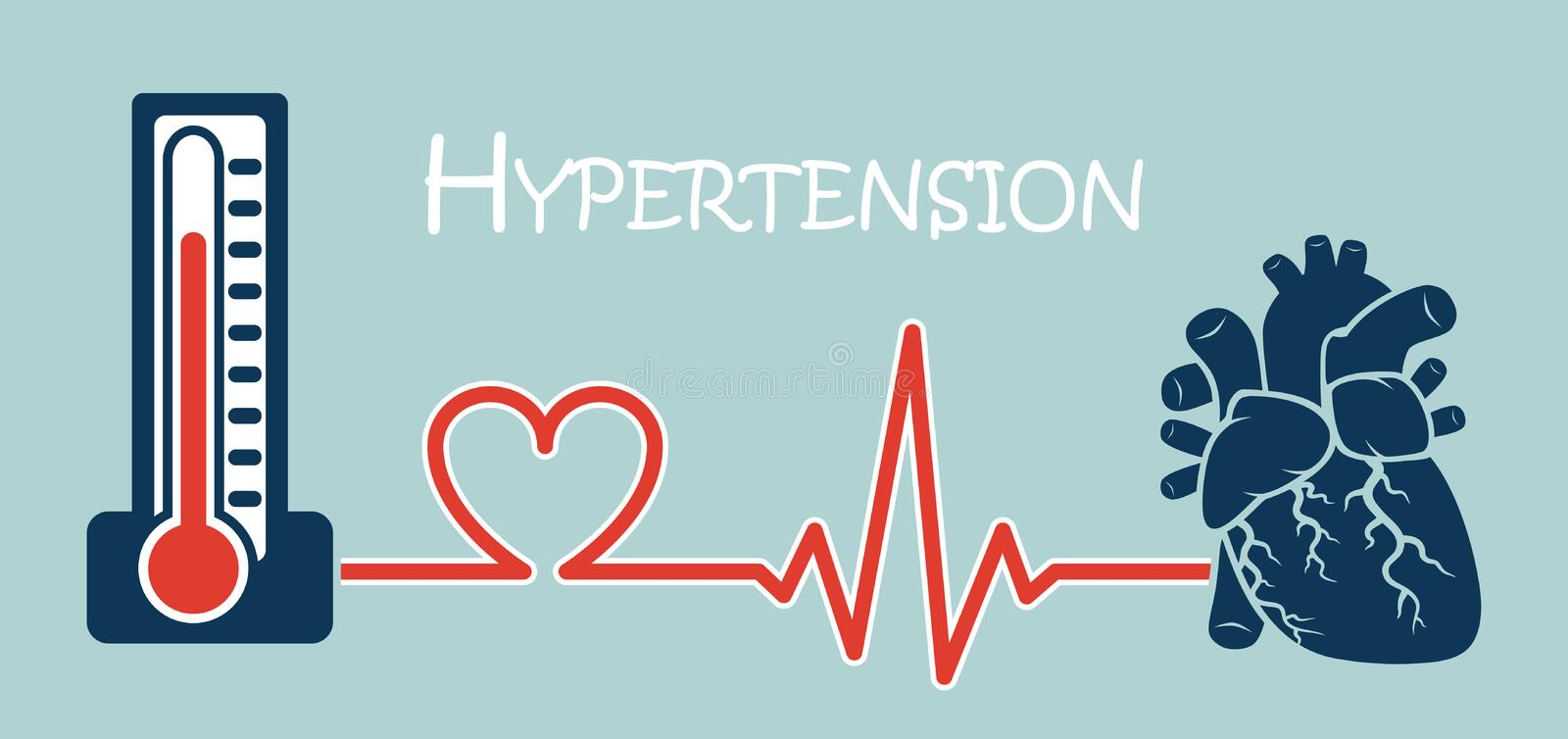 Essential or Primary Hypertension. ( high blood pressure )( sphygmomanometer connect to heart ) ( flat design ) ( NCD concept ( Non communicable diseases royalty free illustration