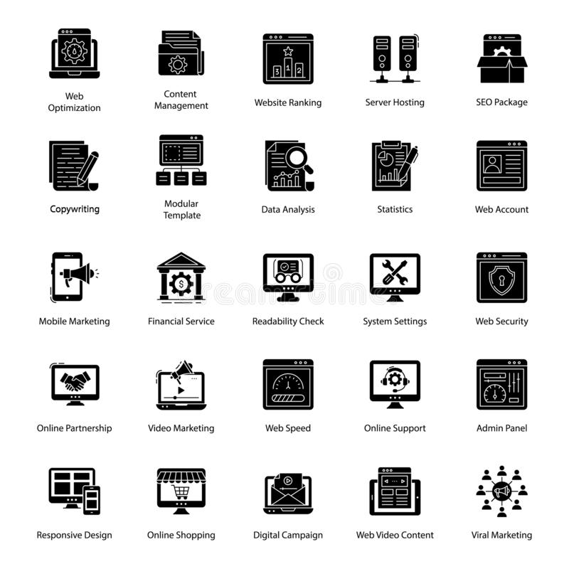 Pack Of Web Glyph Icons. The essential web icons pack is here. A must have set to add to your collection. Editable icons can be used in relevant niches vector illustration