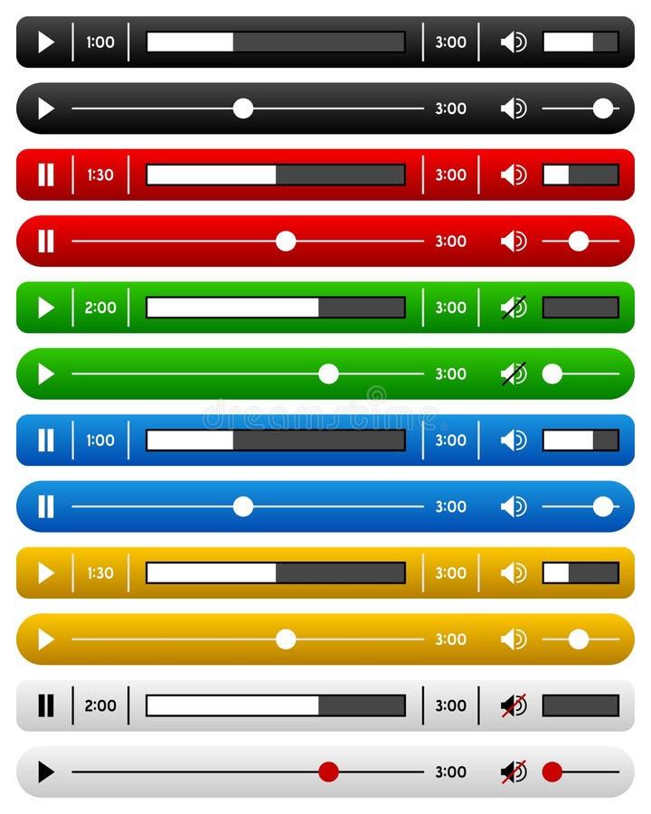 Essential Website Music Player Bar Set stock illustration