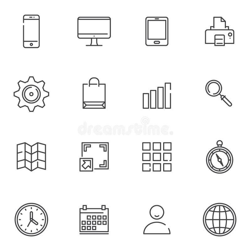 Essentials line icons set stock illustration