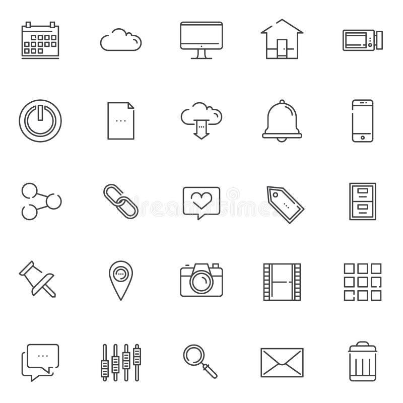 Essentials outline icons set royalty free illustration
