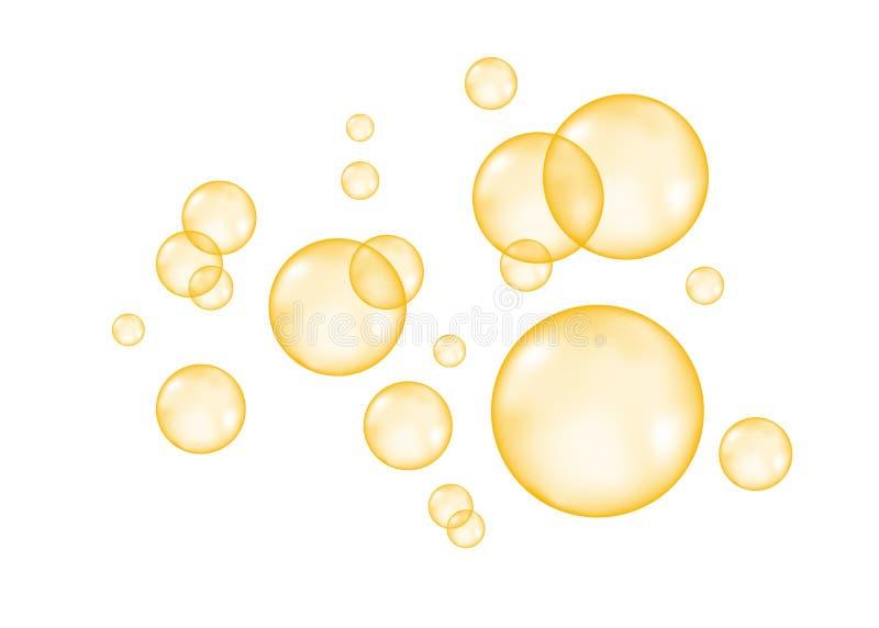 Esser in effervescenzae le bolle dorate dell'aria su fondo bianco illustrazione di stock