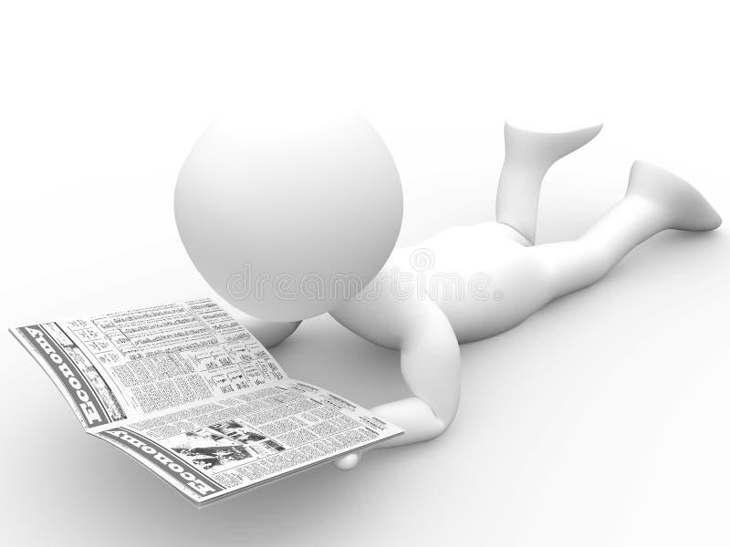 essere umano 3D che legge il giornale illustrazione di stock