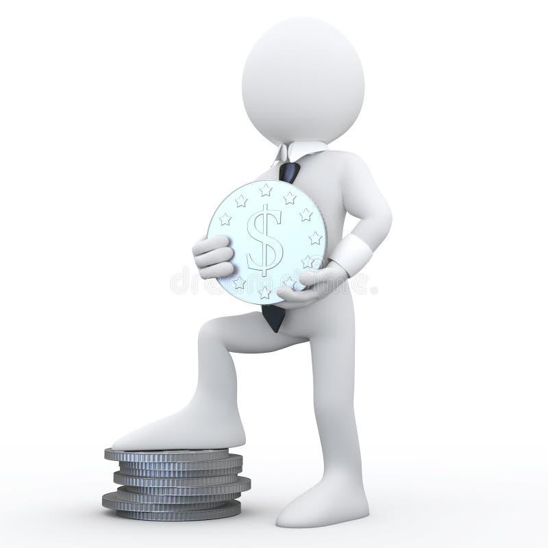 essere umano 3D che tiene una moneta con il segno del dollaro illustrazione vettoriale
