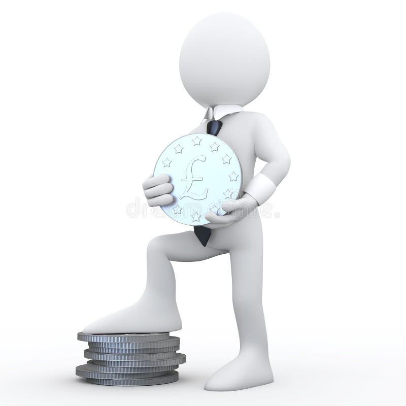 essere umano 3D che tiene una moneta con la libbra sign.jpg royalty illustrazione gratis