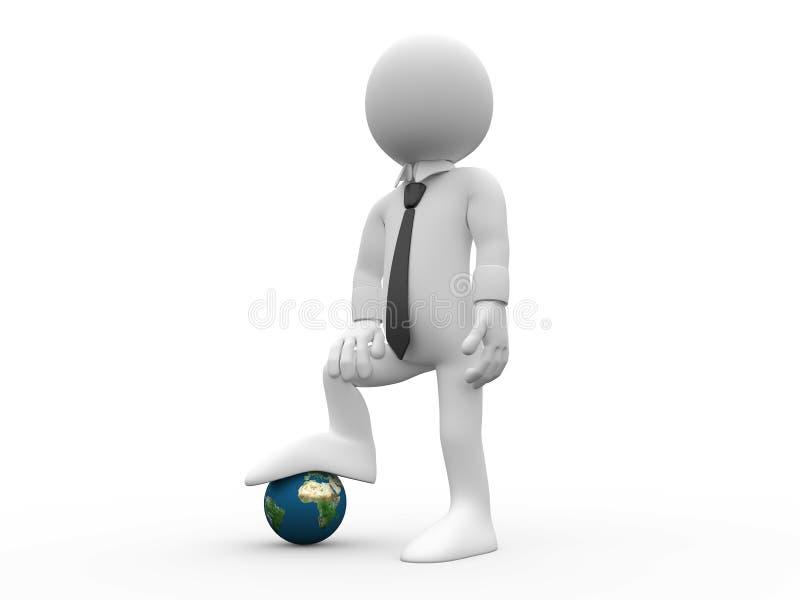 essere umano 3D con i piedi su terra illustrazione di stock