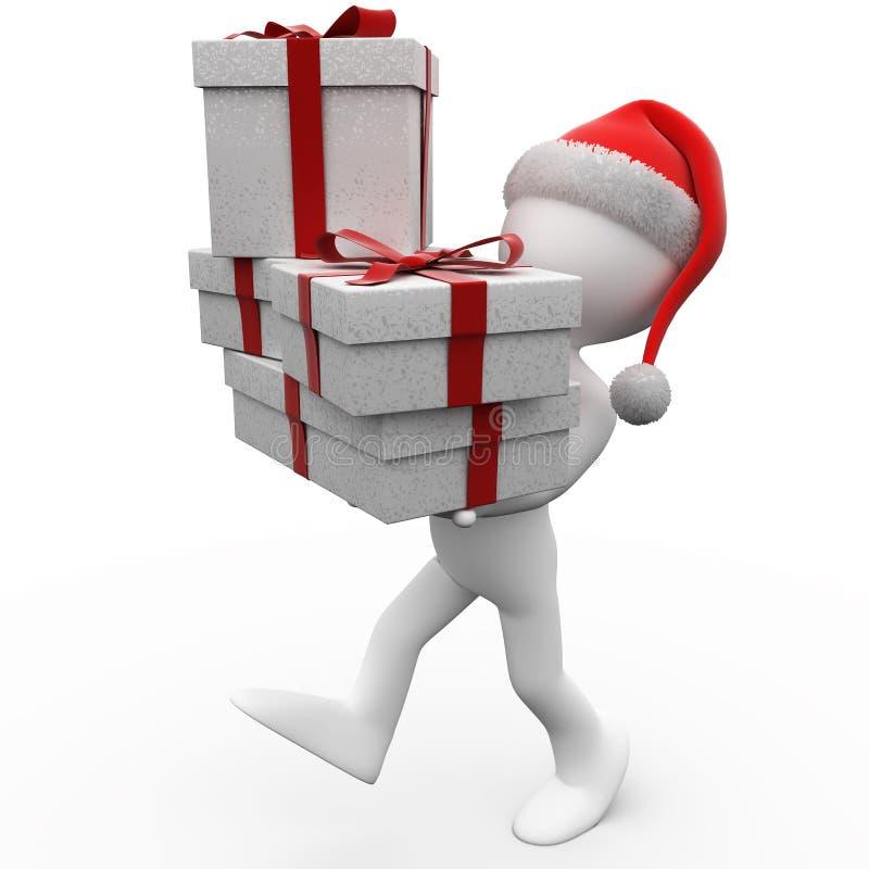 essere umano 3D con i regali di natale ed il Babbo Natale ha illustrazione vettoriale
