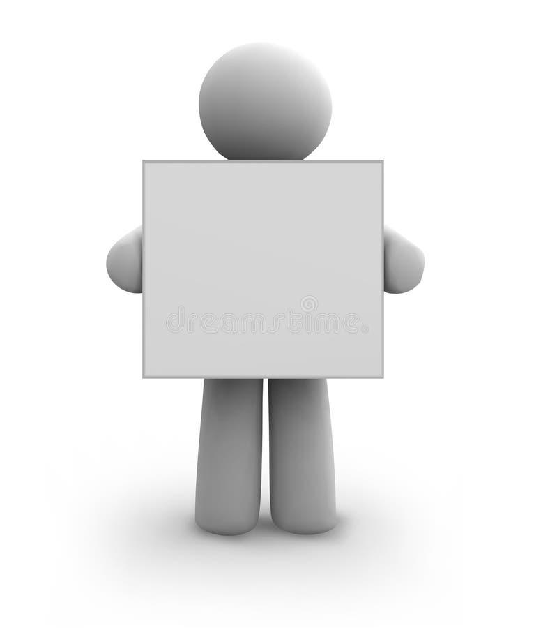 Essere umano bianco di vettore con la scheda in bianco. eps8 royalty illustrazione gratis