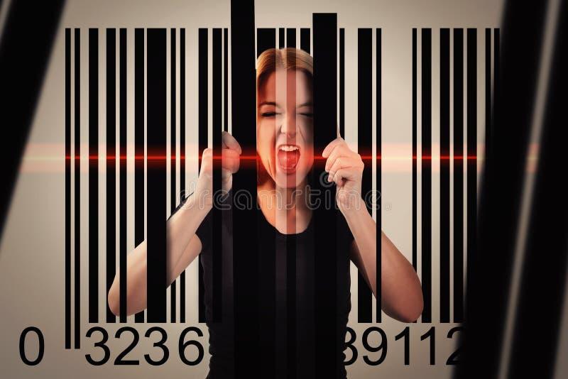 Essere umano bloccato nel codice a barre del consumatore immagine stock