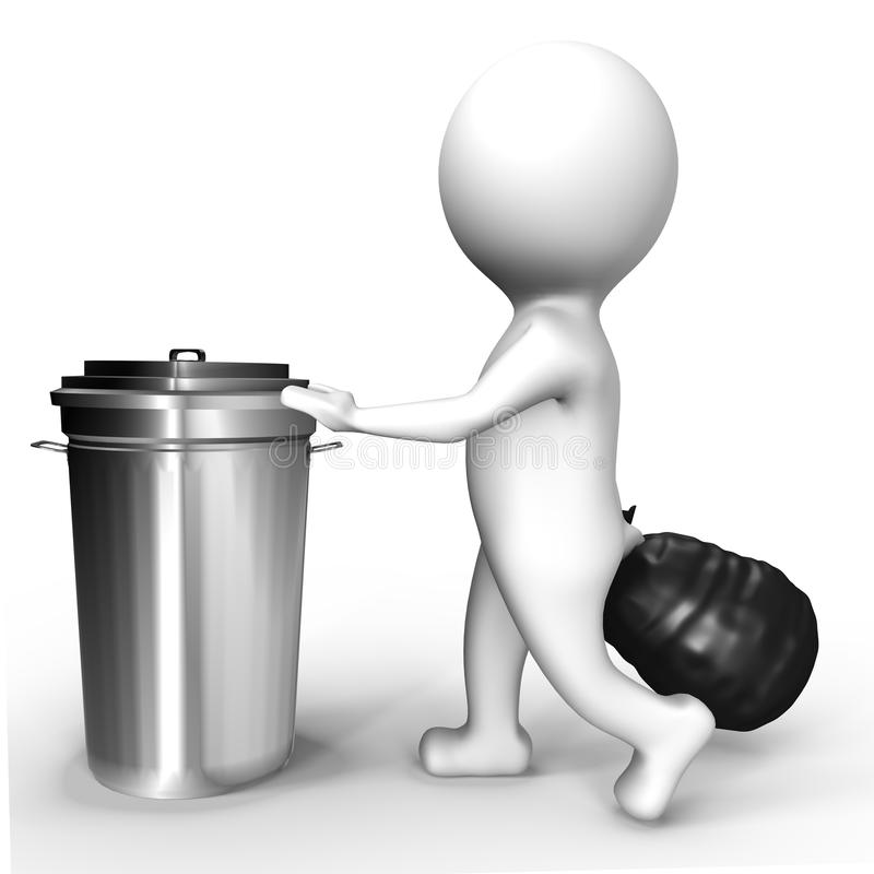 Essere umano che elimina ai rifiuti - un'immagine 3d royalty illustrazione gratis
