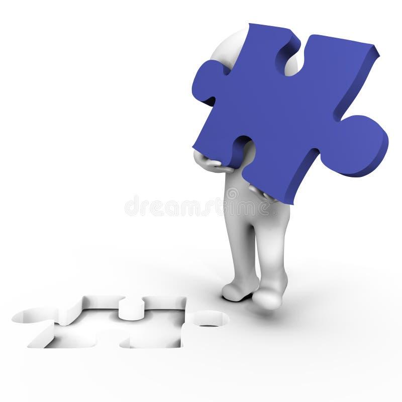 Essere umano che tiene la parte mancante di puzzle - immagine 3d royalty illustrazione gratis