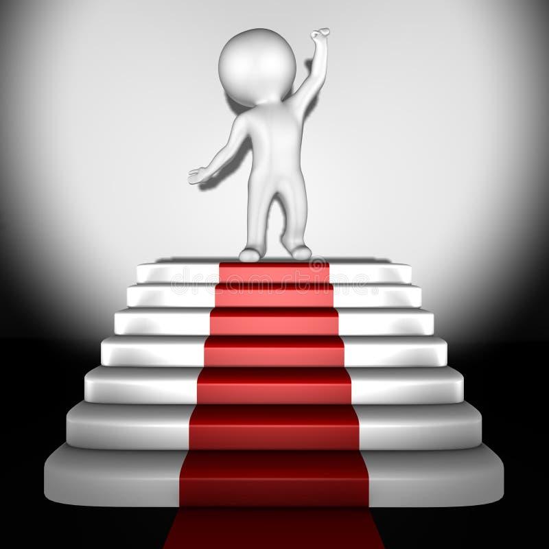Essere umano in cima a tappeto rosso - immagine 3d illustrazione vettoriale