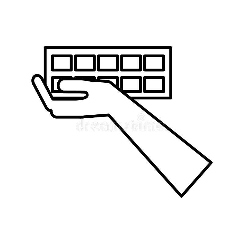 Essere umano della mano con l'icona della costruzione del muro di mattoni illustrazione di stock