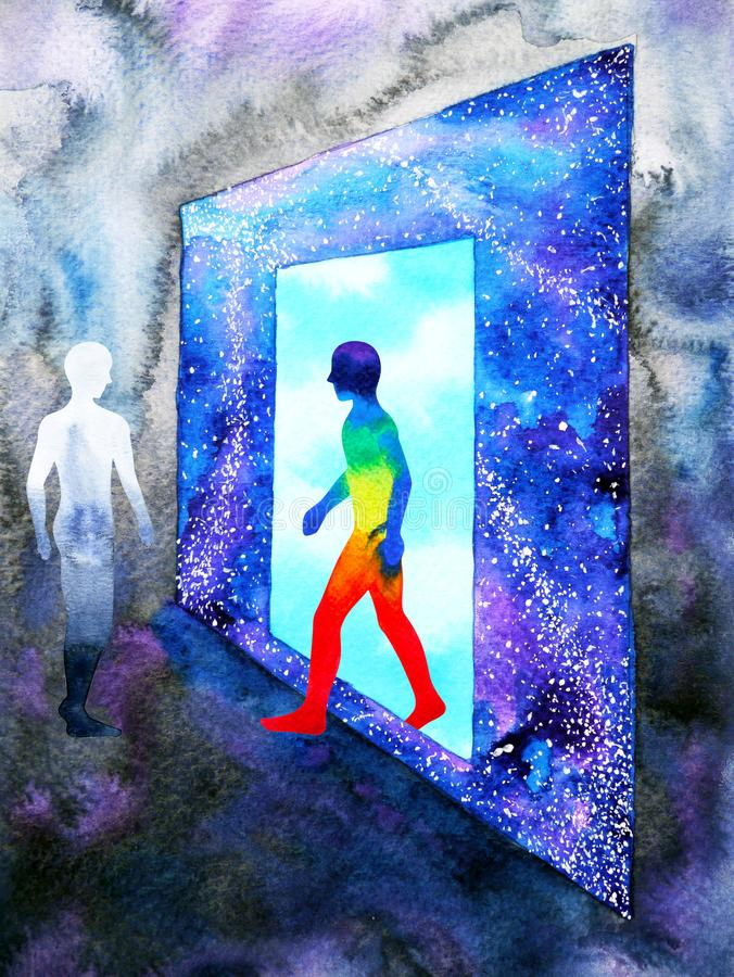 Essere umano di astrattismo che cammina attraverso la porta blu-chiaro della finestra al fondo di progettazione dell'illustrazion royalty illustrazione gratis