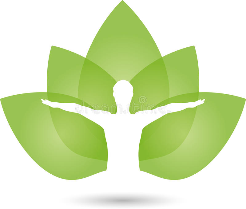 Essere umano e foglie, naturopata e logo di forma fisica