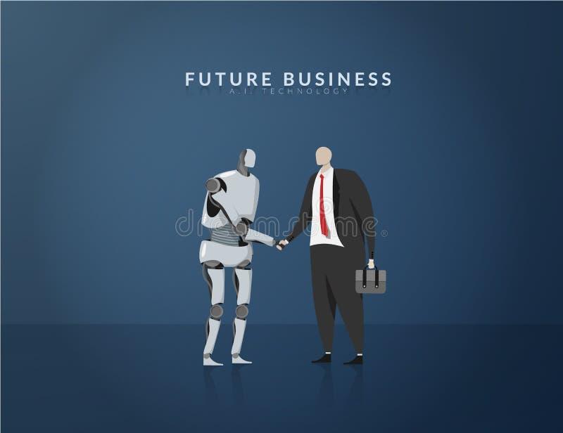 Essere umano ed AI che lavorano insieme, concetto futuro di affari, di tecnologia e dell'innovazione AI o intelligenza artificial illustrazione di stock