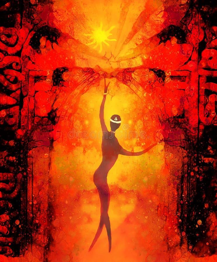 Esseri spirituali nell'universo e nel portone antico nel fondo Effetto del grafico e della pittura royalty illustrazione gratis