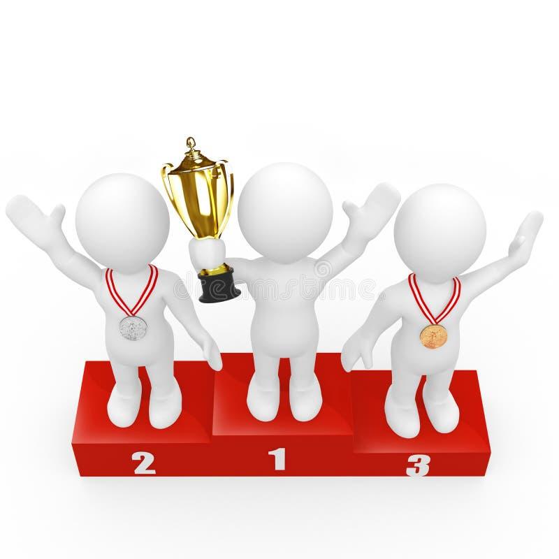esseri umani 3D che si levano in piedi sul podio dei vincitori illustrazione vettoriale