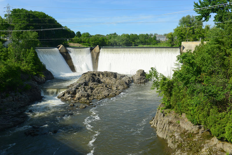 Essex Junction Dam, Vermont, USA. Essex Junction Dam on Winooski River in Essex Junction village, Vermont, USA stock images