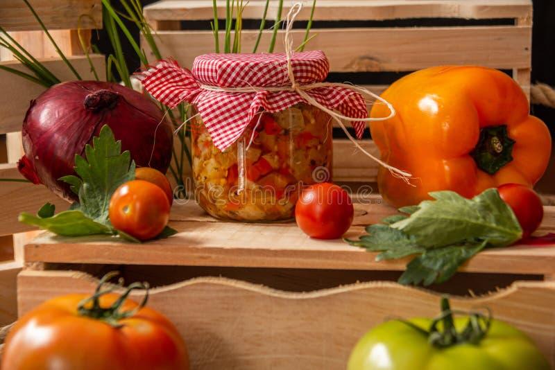 In Essig eingelegt machte von der Zwiebel, vom pimenton, von den Tomaten und von der Aubergine stockbild