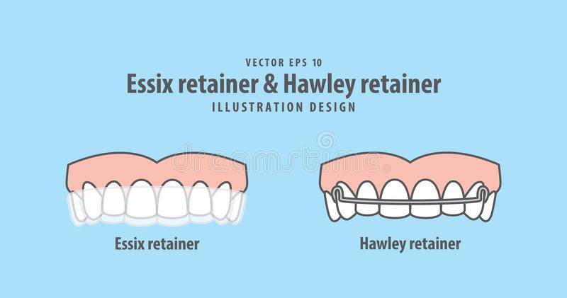 Essix retainer & Hawley retainer illustration vector on blue background. Dental concept. royalty free illustration