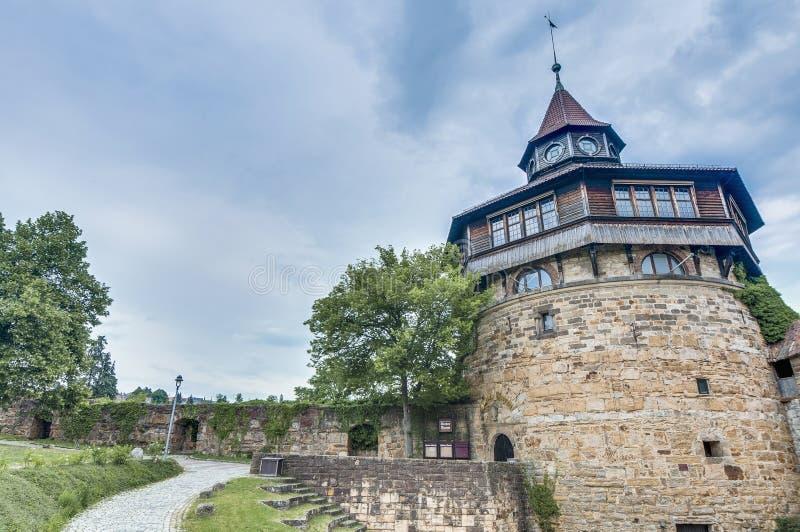 Esslingen上午Neckar城堡的大塔,德国 库存图片