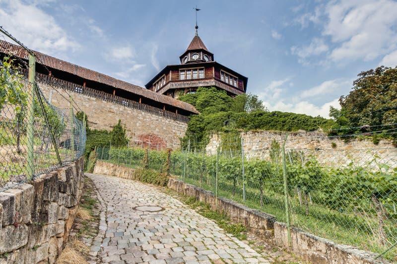 Esslingen上午Neckar城堡的大塔,德国 库存照片