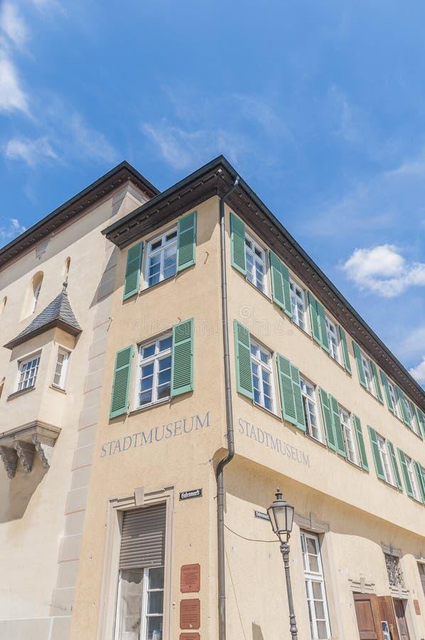 Esslingen的上午Neckar,德国城镇博物馆 库存照片