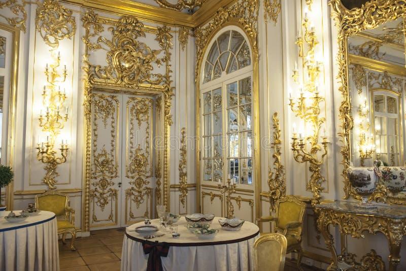 Esszimmer Catherine Palace, St. Petersburg lizenzfreies stockbild