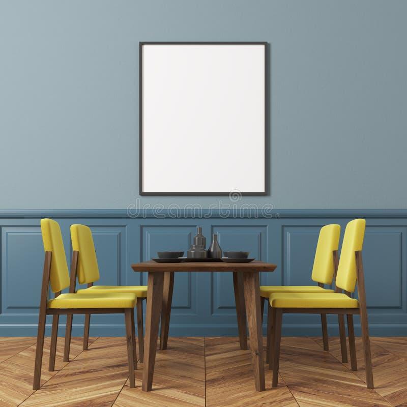 Download Esszimmer Der Blauen Wand, Gelbe Stühle Stock Abbildung    Illustration Von Auslegung, Fahne