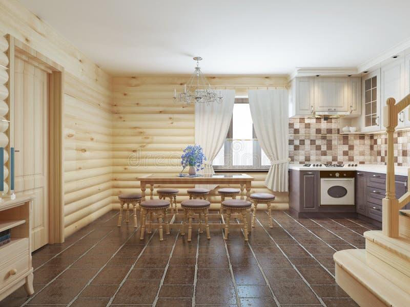 Download Esszimmer In Einem Klotzinnenraum Mit Braunen Fliesen Auf Dem  Boden Und Stock Abbildung   Bild