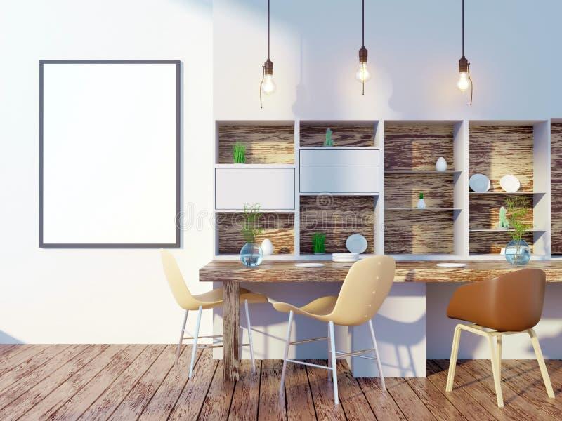 Esszimmer- und Kücheninnenwandspott oben auf weißem Hintergrund, 3D Wiedergabe, Illustration 3D stock abbildung