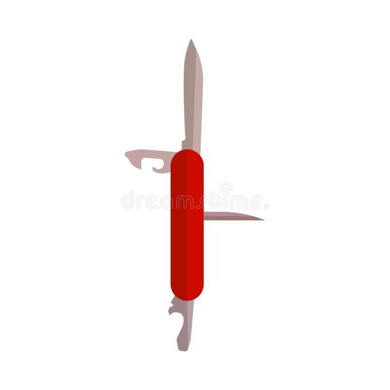 Está acampando e caminha o ícone multifuncional vermelho da faca de bolso aberto Equipamento de aço de prata do multitool Ilustra ilustração stock
