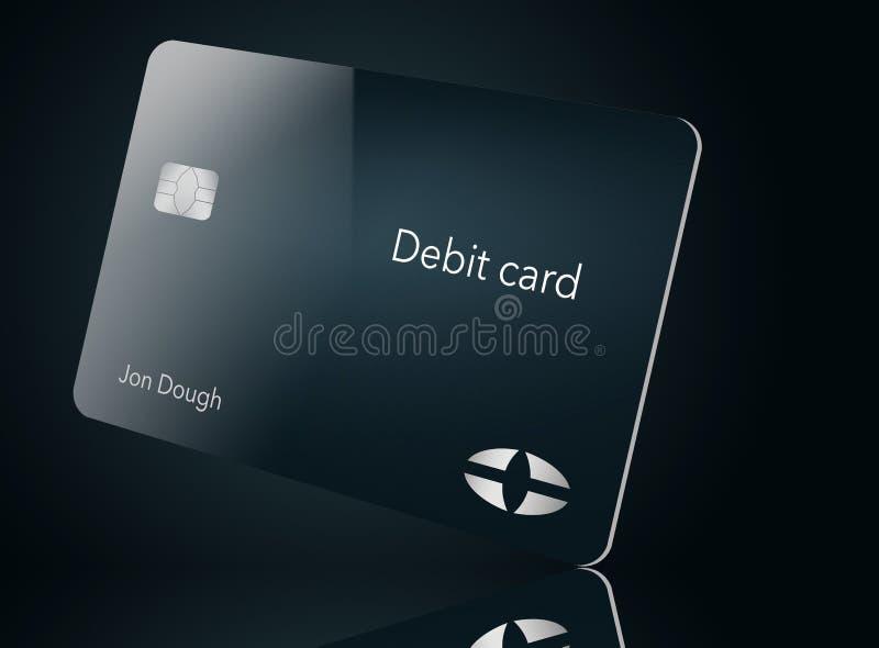 Está aqui um cartão de crédito moderno e à moda do banco É uma ilustração e é trocista e genérico evitar todos os problemas com m ilustração stock