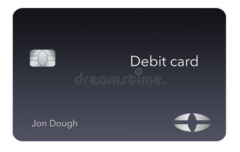 Está aqui um cartão de crédito moderno e à moda do banco É uma ilustração e é trocista e genérico evitar todos os problemas com m ilustração royalty free