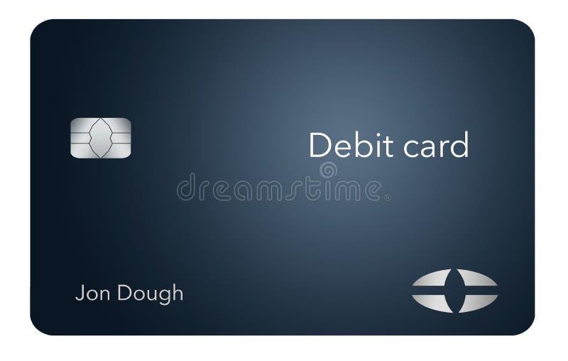 Está aqui um cartão de crédito moderno e à moda do banco É uma ilustração e é trocista e genérico evitar todos os problemas com m ilustração do vetor