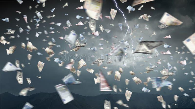 Está chovendo o dinheiro Meios mistos ilustração royalty free